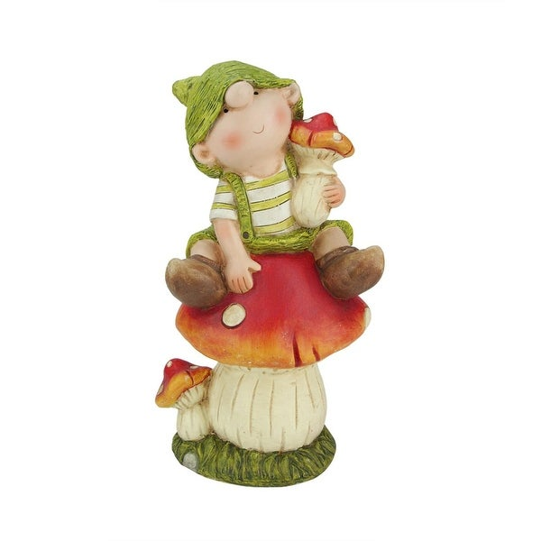"11"" Young Boy Gnome Sitting on a Mushroom Spring Outdoor Garden Patio Figure"