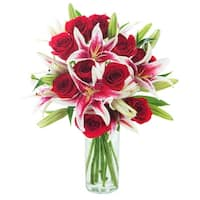 KaBloom - Mixed Bouquet Collection - 12 Red Roses and 5 Stargazer Lilies with Vase
