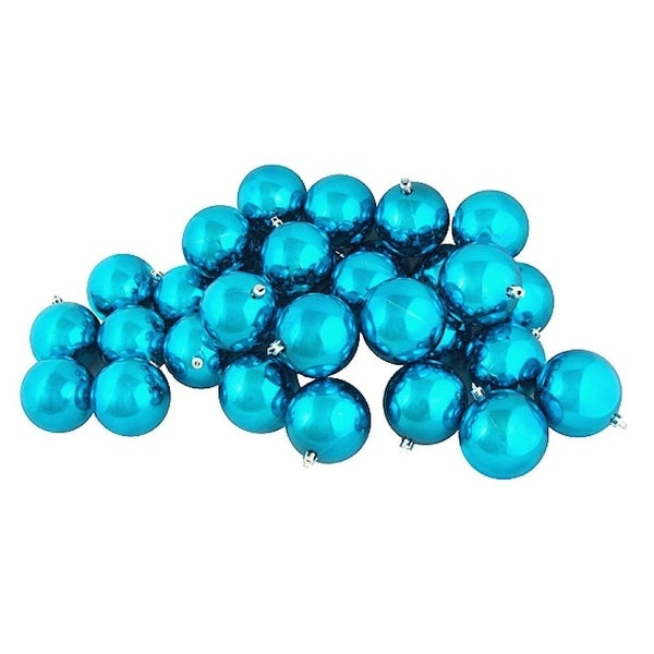 """32ct Shiny Turquoise Blue Shatterproof Christmas Ball Ornaments 3.25"""" (80mm)"""