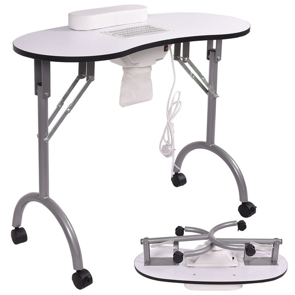 Shop Costway White Folding Portable Vented Manicure Table