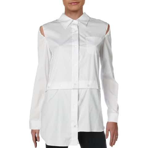Milly Womens Fractured Button-Down Top Silk Cut-Out - White - 8