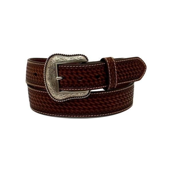 Nocona Western Belt Men Pierced Overlay Embossed Weave Brown