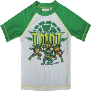 Nickelodeon Little Boys Green White TMNT Print Rash Guard Swimwear Shirt 2-4T