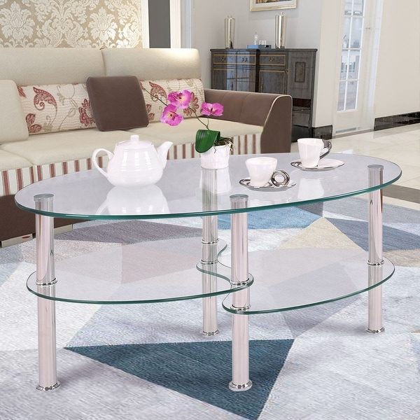 Oval Coffee Table Plans: Costway Tempered Glass Oval Side Coffee Table Shelf Chrome