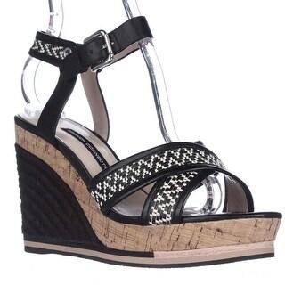 French Connection Lata Cork Espadrille Wedge Sandals - Black/White/Black