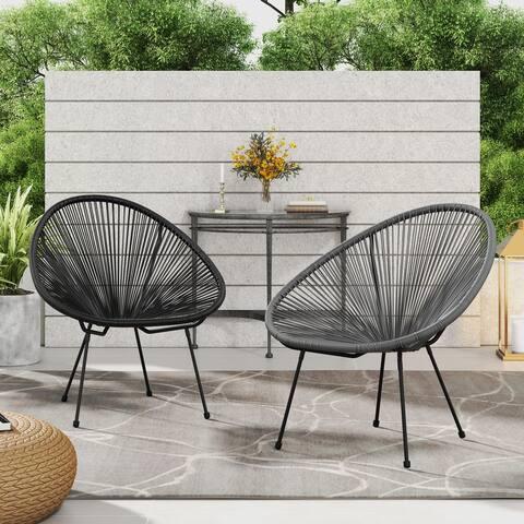 Corvus Sarcelles 2-piece Modern Wicker Indoor/Outdoor Chairs with 4 legs