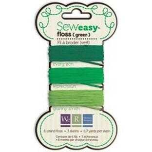 Green - Sew Easy Solid 6-Strand Floss 8.7Yd 3/Pkg