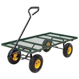 Costway Wagon Garden Cart Nursery Steel Mesh Deck Trailer 800LB Heavy Duty Cart Yard Gar