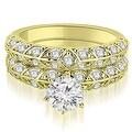 2.23 cttw. 14K Yellow Gold Antique Round Cut Diamond Engagement Set - Thumbnail 0