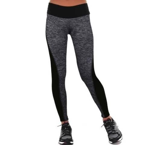 Black And Gray Stitching Hip Elastic Yoga Pants