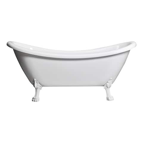 """Daphne 59"""" & 69"""" Clawfoot Tub White or Black Acrylic Five Feet Colors"""