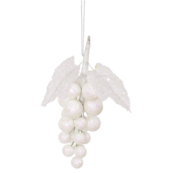 "6.5"" Wonderland White Glittered and Sequined Grape Cluster Christmas Ornament"