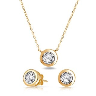 Bling Jewelry Gold Plated Silver CZ Bezel Solitaire Necklace Earrings Set