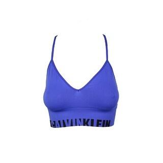 Calvin Klein Blue Logo Long Line Bralette L