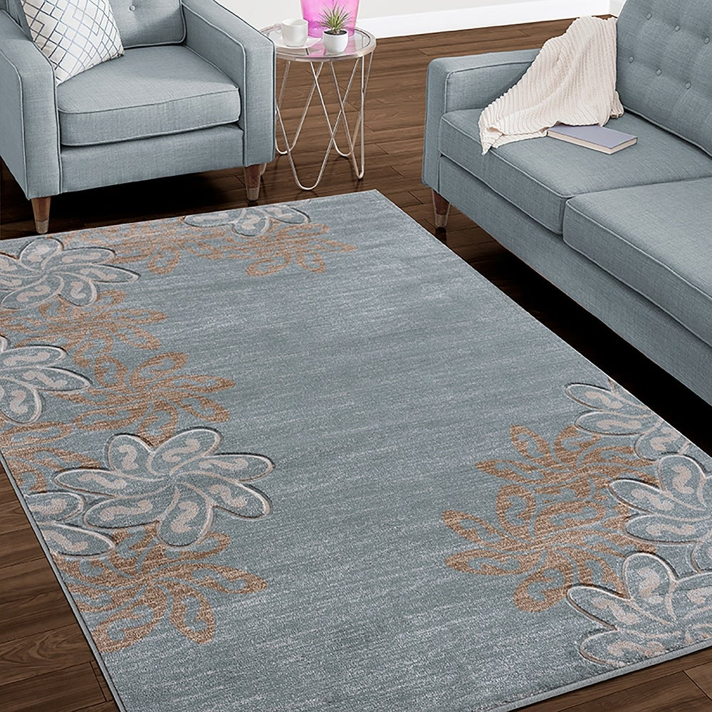 Mda Rugsglamour Collection Floral Polypropylene Area Rug 4 X 6 Light Grey Dailymail
