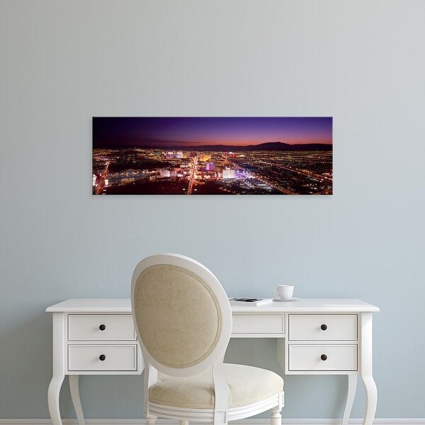 Easy Art Prints Panoramic Image 'View of a city lit up at dusk, City of Las Vegas, Clark County, Nevada' Canvas Art