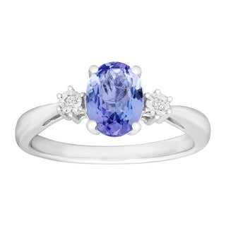 1 1/4 ct Natural Tanzanite Ring with Diamonds in Sterling Silver - Blue