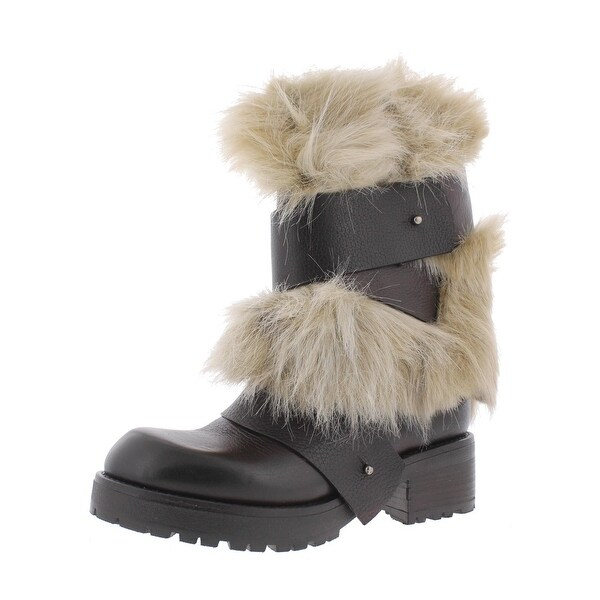 Steven By Steve Madden Womens Feleciaa Mid-Calf Boots Leather Faux Fur