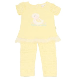 Duck Duck Goose Baby Girls Yellow Bird Applique 2 Pc Pant Outfit