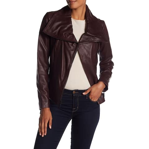 MICHAEL Michael Kors Leather Large Wing Collar Jacket Burgundy