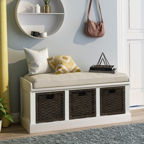 White Entryway Bench Storage with Basket and Removable Cushion