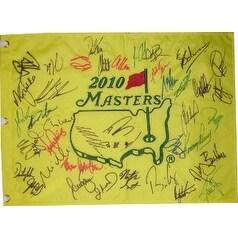 Masters signed 2010 18x13 PGA Golf Pin Flag 40 Sigs- Nick Faldo/Zach Johnson/Lee Westwood/David Toms- Beckett LOA #A84662