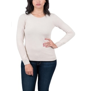 Real Cashmere Beige Crewneck Womens Sweater