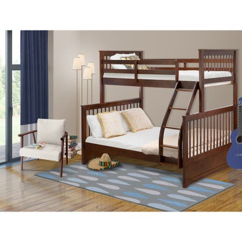 ODB-03-W Bunk Bed- Two separate beds and ladder with four steps and Guard Rails-Twin Full size bed & Phillip Walnut Finish