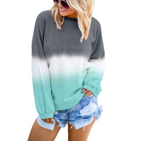 Womens Sweatshirt Casual Ombre Pullover Gradient Sweatshirts Plus Size 2Xl
