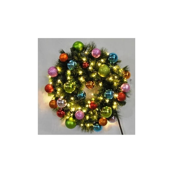 Christmas at Winterland WL-GWSQ-03-TROP-LWW 3 Foot Pre-Lit Warm White Sequoia Wreath Decorated with Tropical Ornaments Indoor /