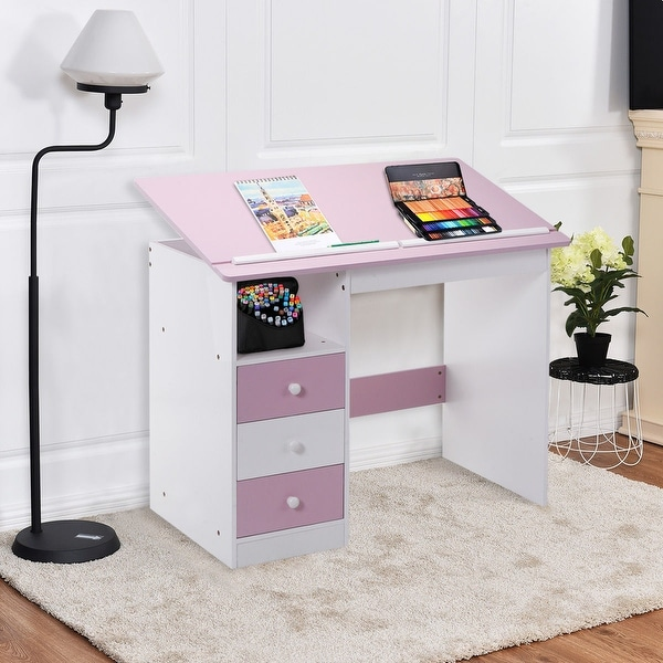 Costway Adjustable Top Drawing Desk Drafting Table Workstation Furniture w/ Drawers - pink & white