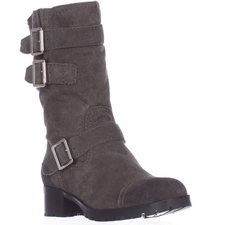 Marc Fisher Arianna Mid Calf Lug Sole Motorcycle Boots - Gray