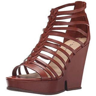 Via Spiga Womens Walena Wedge Sandals Leather Caged