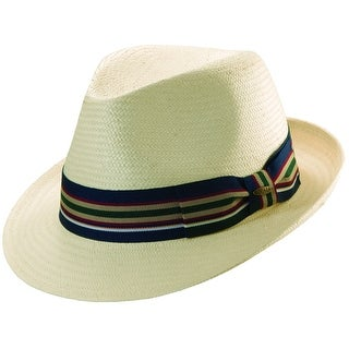 Scala Men's Toyo Straw Ivory Fedora Hat