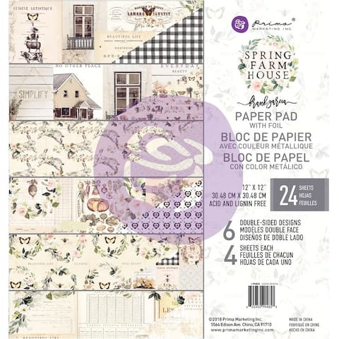 "Prima Marketing Double-Sided Paper Pad 12""X12"" 24/Pkg-Spring Farmhouse, 6 Foiled Designs/4 Eac"