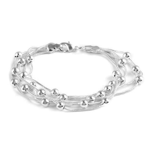 Women Station Bracelet Platinum Plated Gift Jewelry Size 7.25 Inch - Bracelet 7.25''