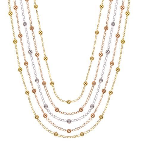 BRONZORO 18 k Gold Over bronze Tri Color Long Multi Strend Necklace