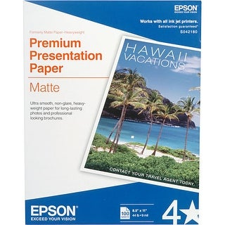 "Epson S042180 Matte Surface Finish Presentation Paper w/ 8.50"" x 11"" Sheet Size"