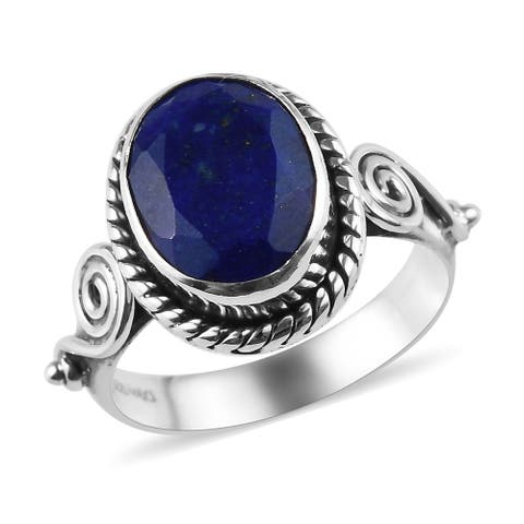 Shop LC 925 Sterling Silver Lapis Lazuli Statement Ring Ct 2.7