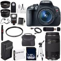 Canon EOS Rebel T5i 18 MP CMOS DSLR Camera International Model + Canon EF 75-300mm f/4-5.6 III USM Lens Bundle