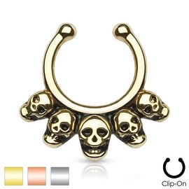 Five Linked Skulls Non-Piercing Septum Hanger (Sold Ind.)