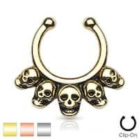 Five Linked Skulls Non-Piercing Septum Hanger (Sold Ind.)