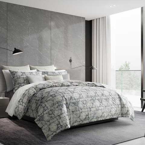 Vera Wang Layered Geometric Duvet Cover and Coordinating Shams