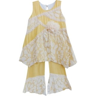 Isobella & Chloe Little Girls Marigold Arabella Two Piece Pant Outfit Set 2T-6X