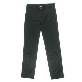 D&G Womens Juniors Solid Low Rise Straight Leg Pants - S