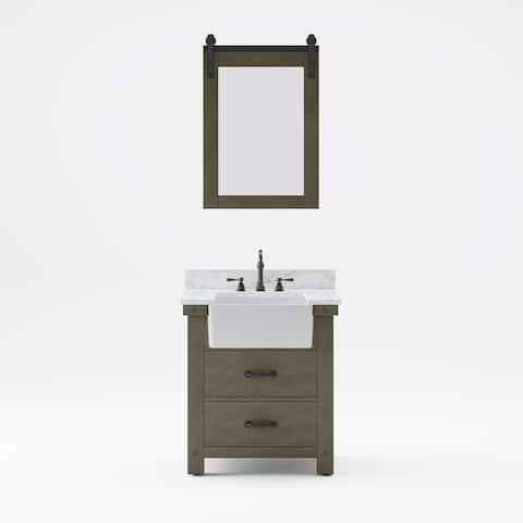 Paisley Carrara White Marble Countertop Vanity with Barn Mirror