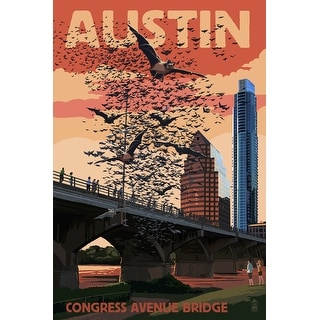 Austin, Texas - Bats & Congress Avenue Bridge - Lantern Press Artwork (Acrylic Serving Tray)