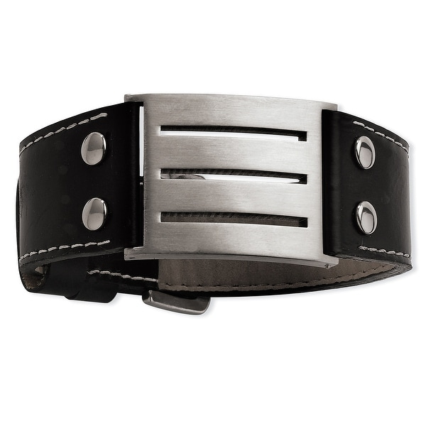 Chisel Stainless Steel Genuine Leather Adjustable Buckle Bracelet