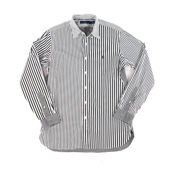 e458b7ab1d Shop Ralph Lauren White Mens Size Medium M Button Down Striped Shirt - Free  Shipping Today - Overstock - 28364244