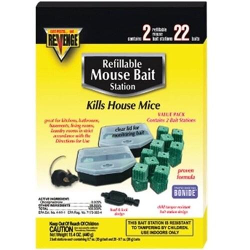 Bonide 48113 Revenge Refillable Mouse Bait Station, 22/Pack